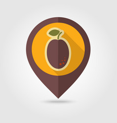 plum flat pin map icon fruit vector image vector image