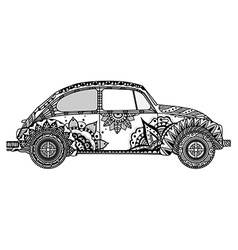 Vintage car in tangle patterns style vector