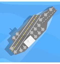 Aircraft carrier at sea vector image