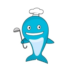 Cartoon blue whale chef wearing cook hat vector image vector image