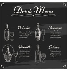 Drink menu elements on chalkboard vector image
