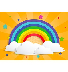 Rainbow star and clouds background vector image vector image