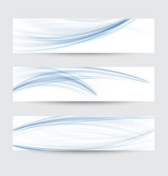 set of abstract blue wavy water flow vector image vector image