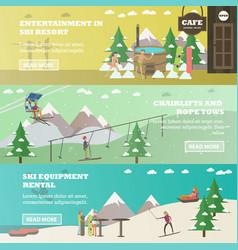 set of winter fun horizontal banners in vector image