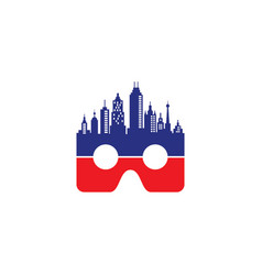 vr logo with skyscrapers vector image vector image