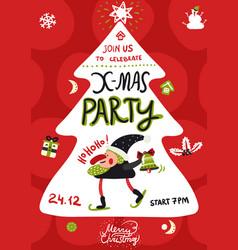 xmas party poster vector image vector image