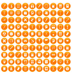 100 learning icons set orange vector
