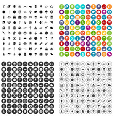 100 moon icons set variant vector