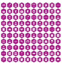 100 reader icons hexagon violet vector