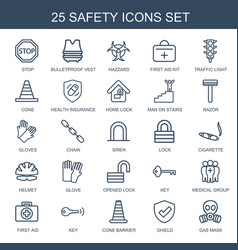 25 safety icons vector