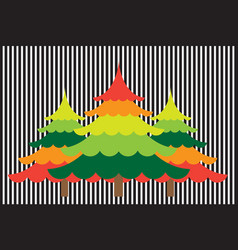 Abstract christmas tree with colorful background vector