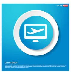 airplane icon abstract blue web sticker button vector image