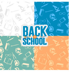 back to school seamless patterns vector image