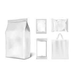 Bag foil doypack sachet pouch products pack set vector
