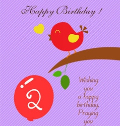 Bird heart Birthday two years old vector