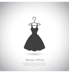 Black dress on hanger Dress icon vector