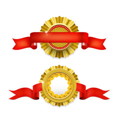 Blank golden award medal with ribbon vector