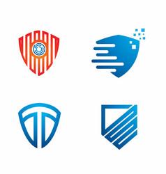 Blue shield logo design template set vector