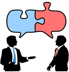 Business people connect collaborate puzzle talk vector image