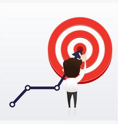 Businessman directs arrow to target aim vector