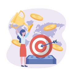 businesswoman and target with arrow and bills and vector image