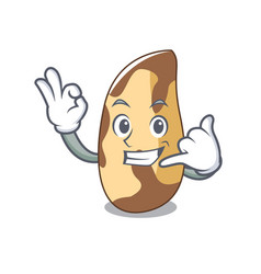 Call me brazil nut mascot cartoon vector