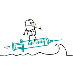 cartoon doctor surfing on wave with syringe vector image