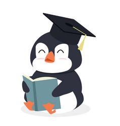 cartoon penguin reading book vector image