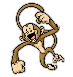 Cheerful cute monkey vector