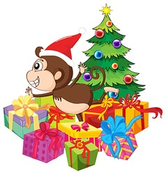 Christmas theme with monkey and tree vector