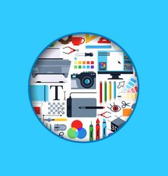 circle digital art design icons vector image