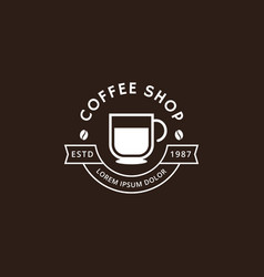 Coffee shop logo in white color vector