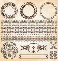Collection beautiful vintage elements vector