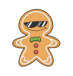 cool sunglasses christmas ginger bread cookie vector image
