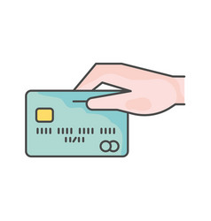 Credit card with hand single line icon vector
