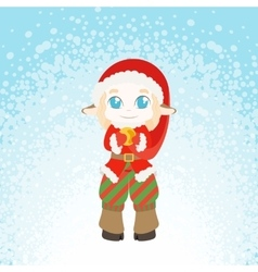 Cute and embarrassed Christmas deer-elf vector image