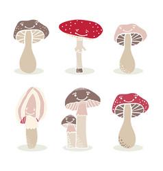 Cute cartoon mushroom fungi elements vector