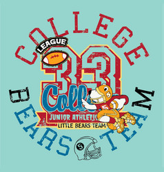Cute little bears football athletic team vector