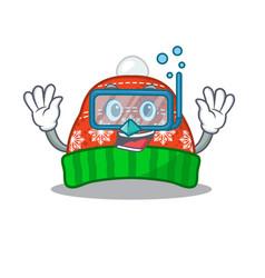 Diving winter hat in mascot shape vector
