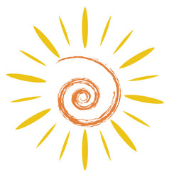 doodle sun symbol vector image vector image