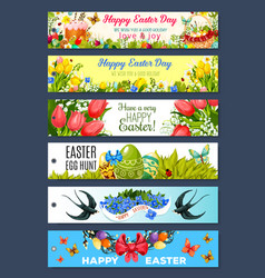 Easter gift tag set with cartoon holiday symbols vector