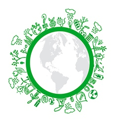 Eco symbols in green world vector image vector image