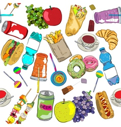 fast food colored pattern vector image