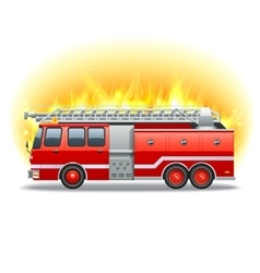Firetruck in fire vector