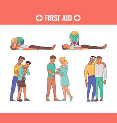 First aid emergency scenes set vector