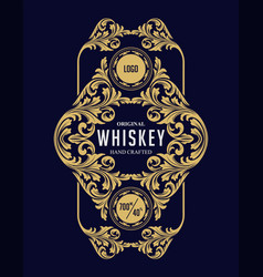 gold frame label whiskey vector image