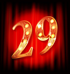gold numbers 29 greeting card vector image