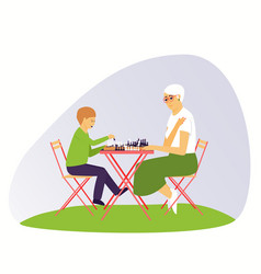 Grandma and grandson are playing chess vector