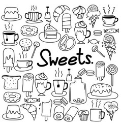Hand drawn doodle sweets set vector