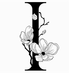 Hand drawn floral i monogram and logo vector